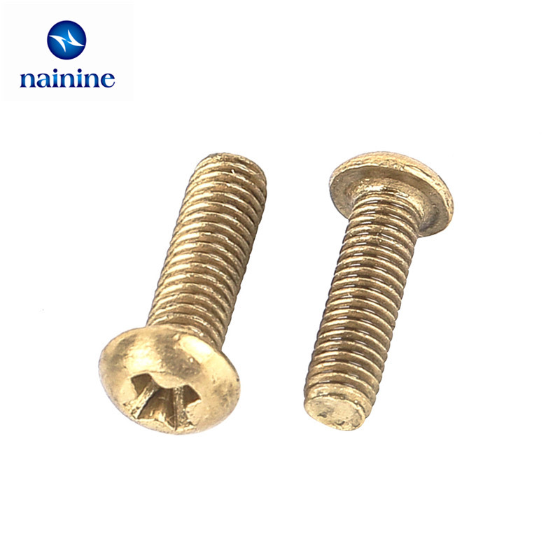 50Pcs ISO7045 DIN7985 GB818 M2 M2.5 M3 Copper Machine Screws Phillips Machine Pan Head Brass Screws HW054 50pcs m2 m2 5 m3 m4 iso7045 din7985 gb818 304 stainless steel cross recessed pan head screws phillips screws hw002