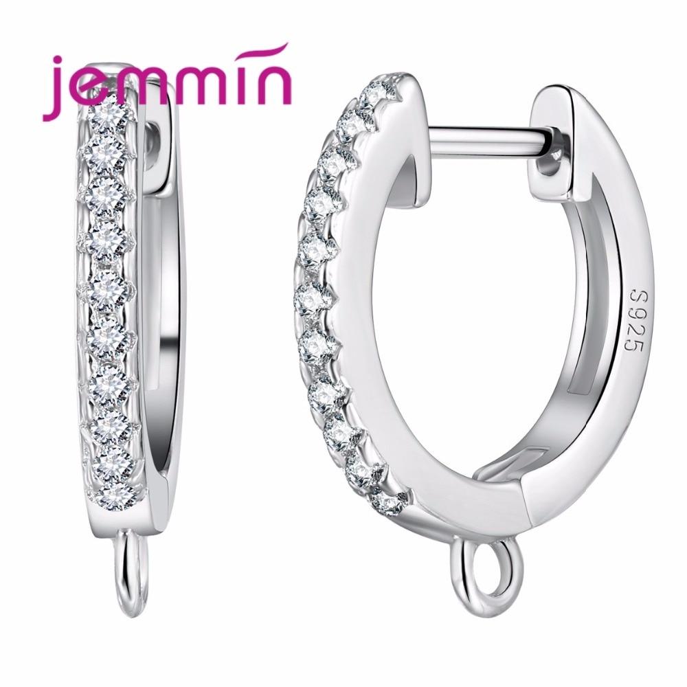 Kulatý design náušnice pro ženy s plným průhledným křišťálovým prodejem za 925 mincových stříbrných šperků, kutilství