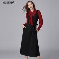 MUSENDA Plus Size Women Elegant Black Red Patchwork Bow Tunic Sashes Long Dress New 2018 Spring Female Dresses Vestido Robe 5XL