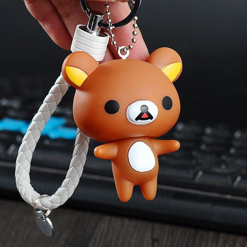 2018 New Rilakkuma Keychain Cute Cartoon Bear Keychains Anime Car Key Chain Ring With Holder Bag Pendant