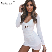 Nadafair Long Sleeve V Neck Tie Up Knot Ruched Sexy Club Bodycon Party Dress 2017 Autumn