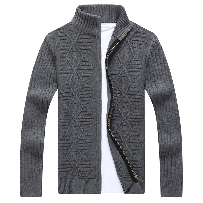 2017 New Men's Casual Slim Full Zip Thick Knitted Cardigan Sweaters With Classic Check Pattern