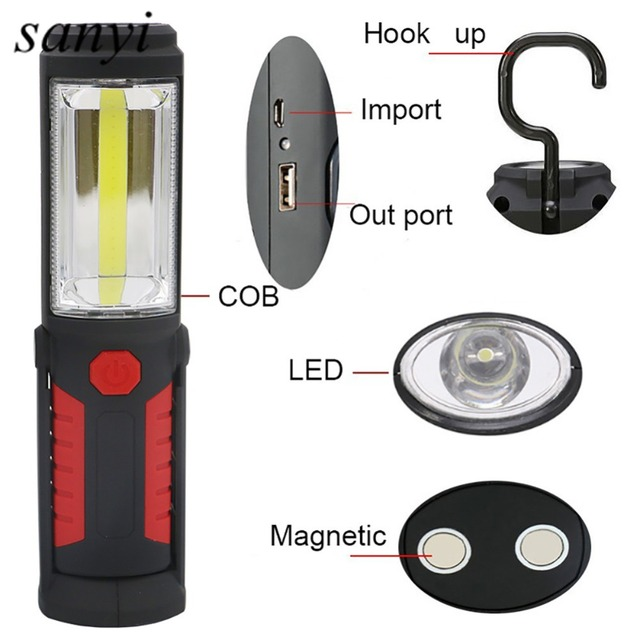 Usb Charging Led Flashlight Torch Lamp Cob Work Stand Lights Magnetic Hook Mobile