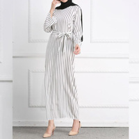 Women Party Dress With Belt Elegant Vintage Long Sleeve Tunic Summer Dress 2019 Casual Striped Print Long Muslim Maxi Dresses
