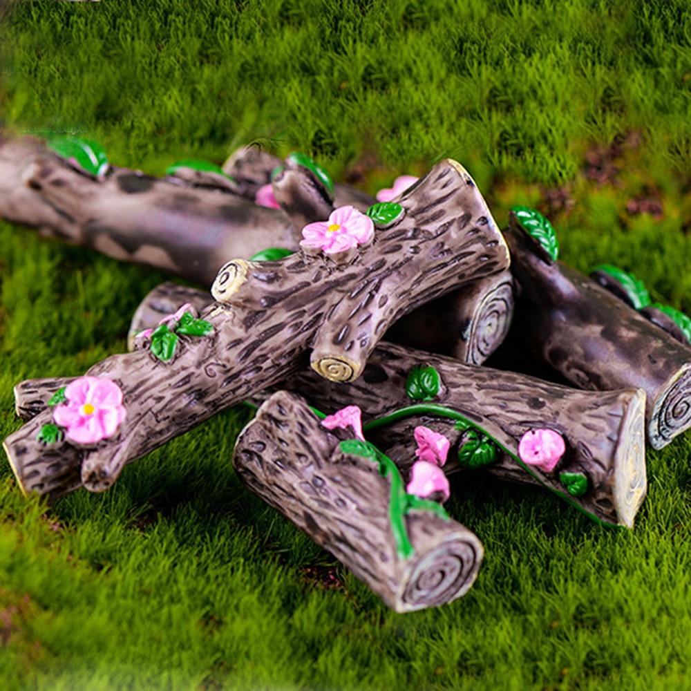 Miniature Fairy Garden Terrarium Resin Tree Log Stump Ornament x 4 pcs