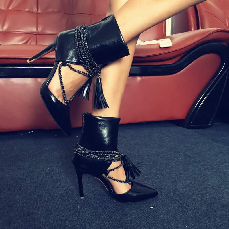 Fashion Black Leather Ladies Shoes Hot Sexy Pointy Toe Tassel Pumps High Heels Stylish Chains Lace Up Party Dress Wedding Shoes sexy black nude high heels thin stiletto scarpin spikes pointy toe ladies pumps formal party wedding dress shoes sapatos mulher