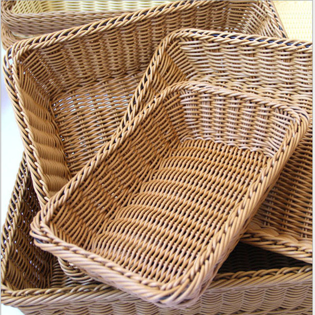 rectangular de mimbre cestas de almacenamiento cesta de fruta de pan de alimentos plato de frutos - Como Hacer Cestos De Mimbre