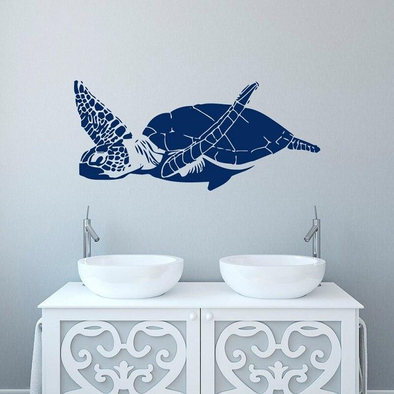 Zeeschildpad vinyl muurtattoo marine leven stijl badkamer woonkamer thuis kleuterschool decoratieve kunst behang YS17