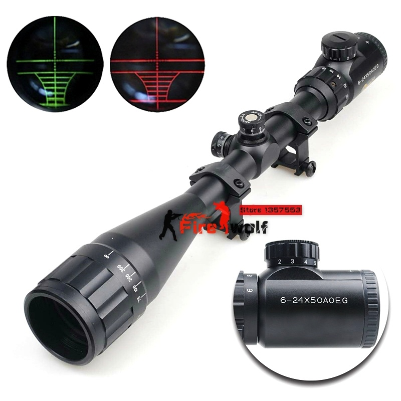 Hunting 6-24x50 AOE Riflescope R&G Illuminated Riflescope Reticle Shotgun Rifle Sniper Scope For Hunting