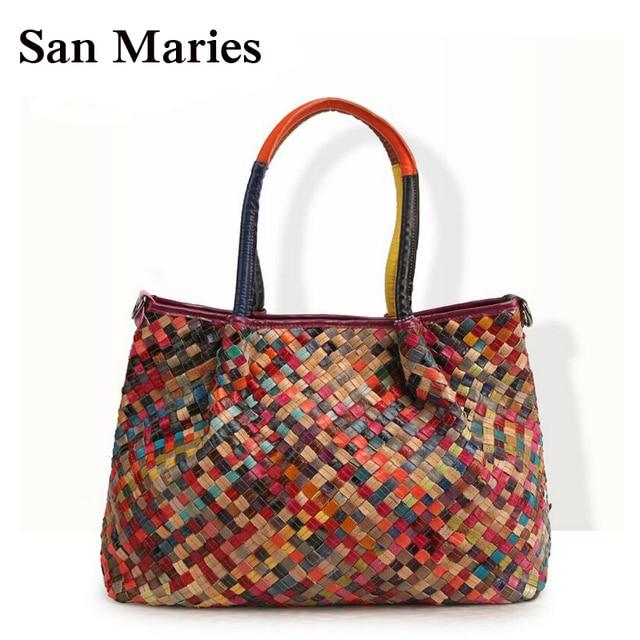 New Arrival Women Messenger Bag Woven Top Handbag Colorful Tote Ladies  Woman Bags Handbags Women Famous 07690f6b966c0