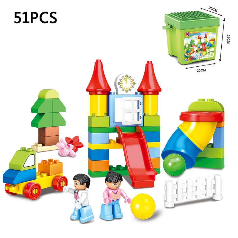 Kid's Home Toys Happy Pipeline Paradise Classic Large Particles Building Blocks Kids Educational Brick Toy Compatible With Duplo oenux happy princess angel castle model large particles building block kids diy brick toy for girl s gift compatible with duplo