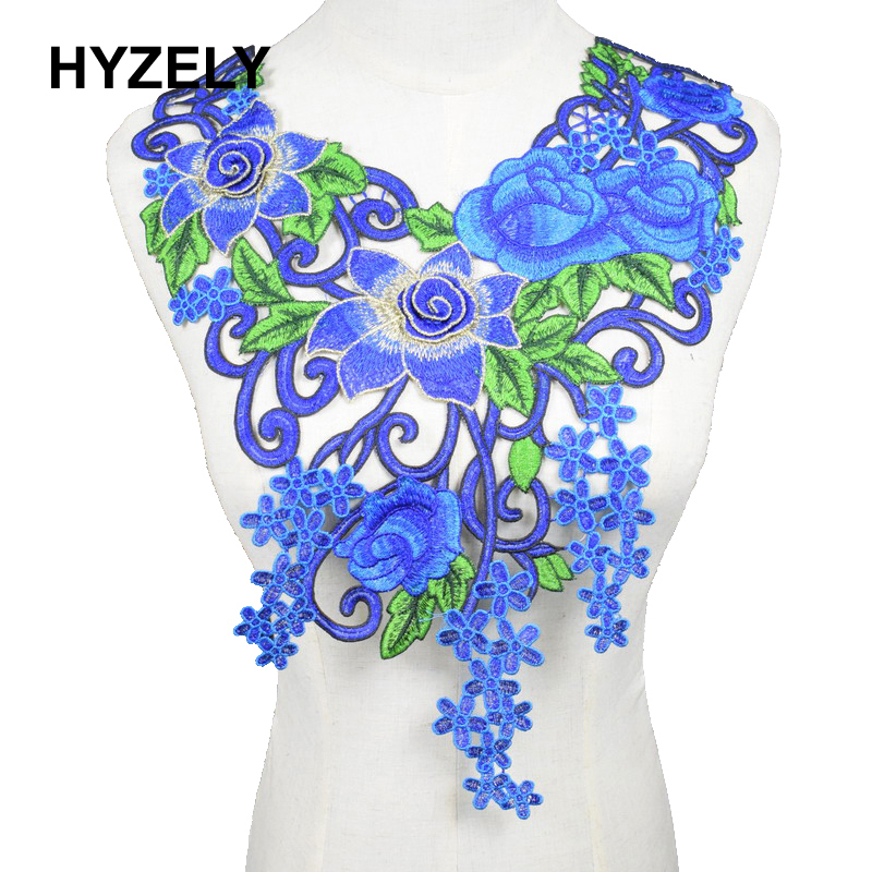 12 VINTAGE VARIEGATED BLUE FLORAL APPLIQUE SEW ON FREE SHIPPING