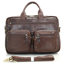 Vintage Real Genuine Leather Men Messenger Bags Cow Leather Briefcase Bussiness Portfolios Cowhide Shoulder Bag VP