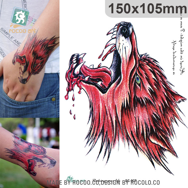 Sc 907 Large 3d Sketch Horrible Red Blood Wolf Head Designs Cool Chest Body