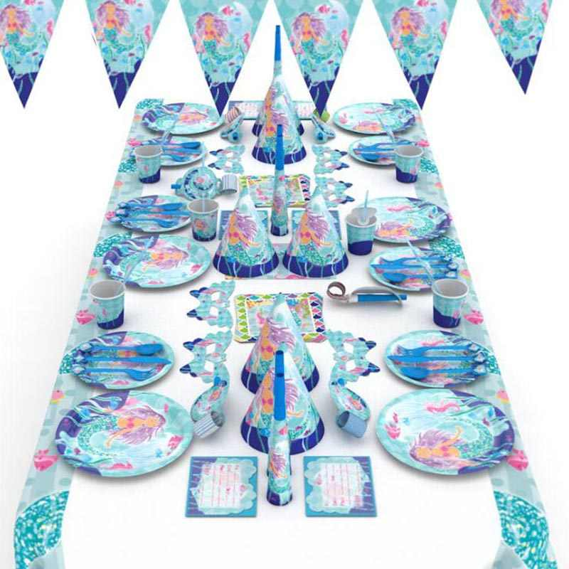 Girl Birthday Party Decoration Little Mermaid Party Disposable Tableware Beach Outing Supplies Wedding Baby Shower Favor