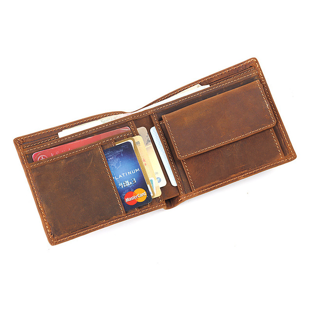Винтажный дизайн 100% натуральная Carteiras Masculinas воловья кожа мужской короткий кошелек визитница мужской кошелек для монет Кошельки