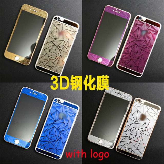 New For Iphone6 47 3D Diamond Color Front Back Film Tempered Glass Toughened Protective