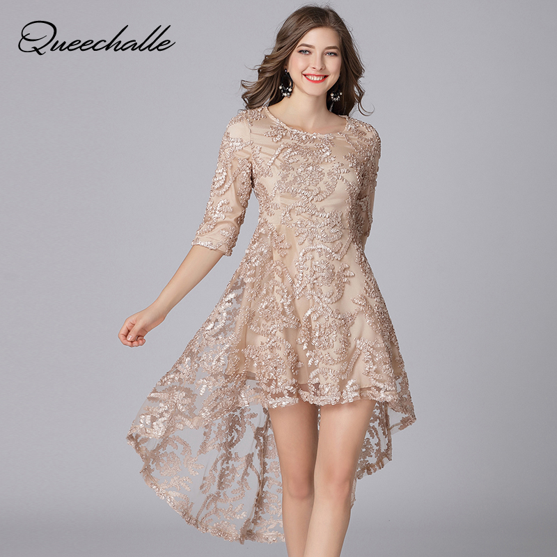 Gold Color Irregular Party Lace Dress Fashion Embroidery ...