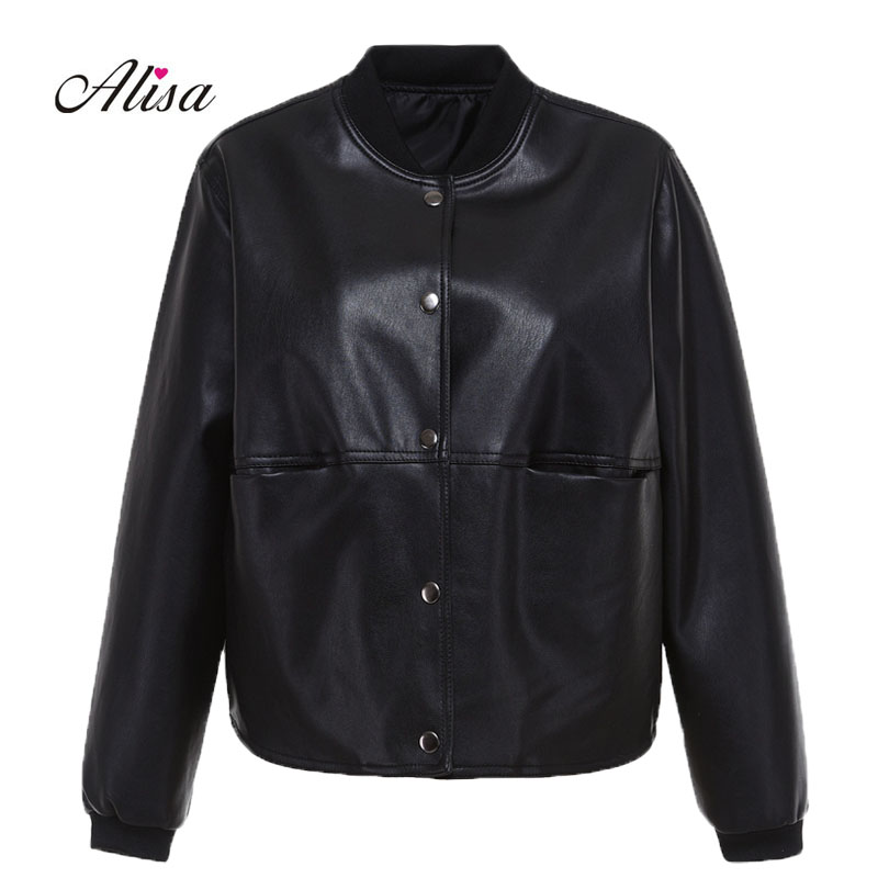 New Women Casual   Leather   Coat 2018 Spring Autumn Long Sleeved Single-breasted Faux   Leather   Coats Ladies Loose Black Punk Jacket