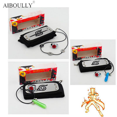 3pcs/set Anime Naruto headband Tsunade Uchiha Itachi leaf village cosplay prop headband ring necklace accessories Akatsuki toys plain headband 3pcs
