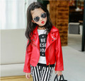 Hot Baby Girls Clothes Spring Autumn Children's PU Jackets Fashion Oblique Zipper Outerwear Kids Boys Leather Jacket Coat Red