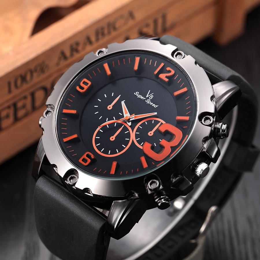 Creative Watches 3D Dimensional Dial Casual Men's Wrist Watch V8 super speed Military Brand Boy Gift Strap Clock Relogio A118 3 dimensional miniplates