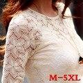 Envío Gratis Nuevo 2017 Mujer de Encaje camisa de Moda de manga Larga hueco camisa de gasa blusa mujeres de talla grande tops M-5XL