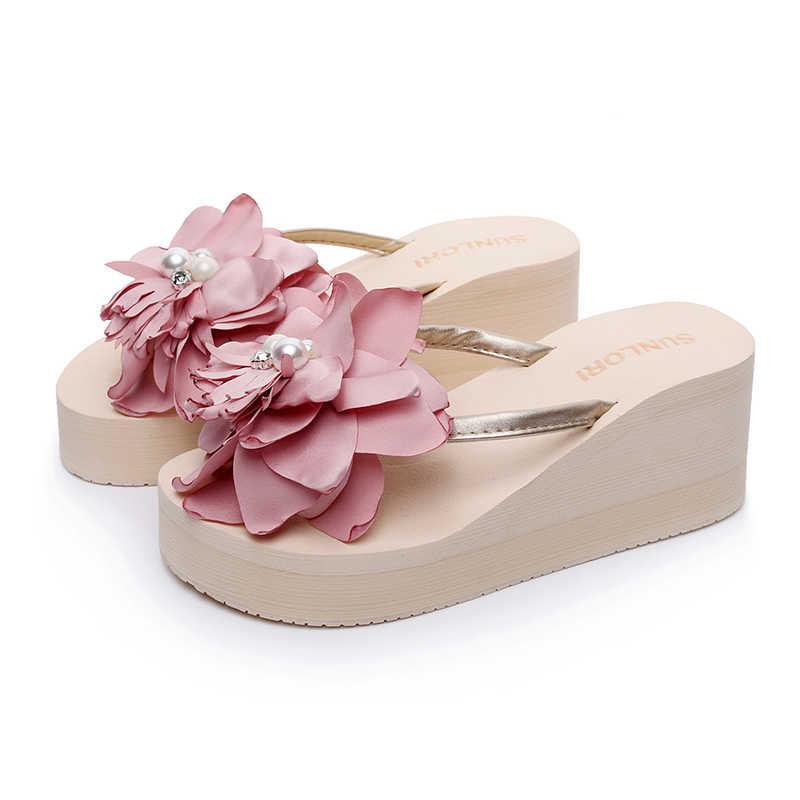 1db928b0f96f Laamei Women Flowers Wedges Flip Flops Sweet Flower Room Slippers Woman  Sandals Platform Shoes Beach Flip