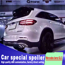 цены For Mercedes benz GLC X253 GLC260 C43 GLC200 GLC250 GLC300 rear glass wing high quality ABS spoiler by primer or DIY paint