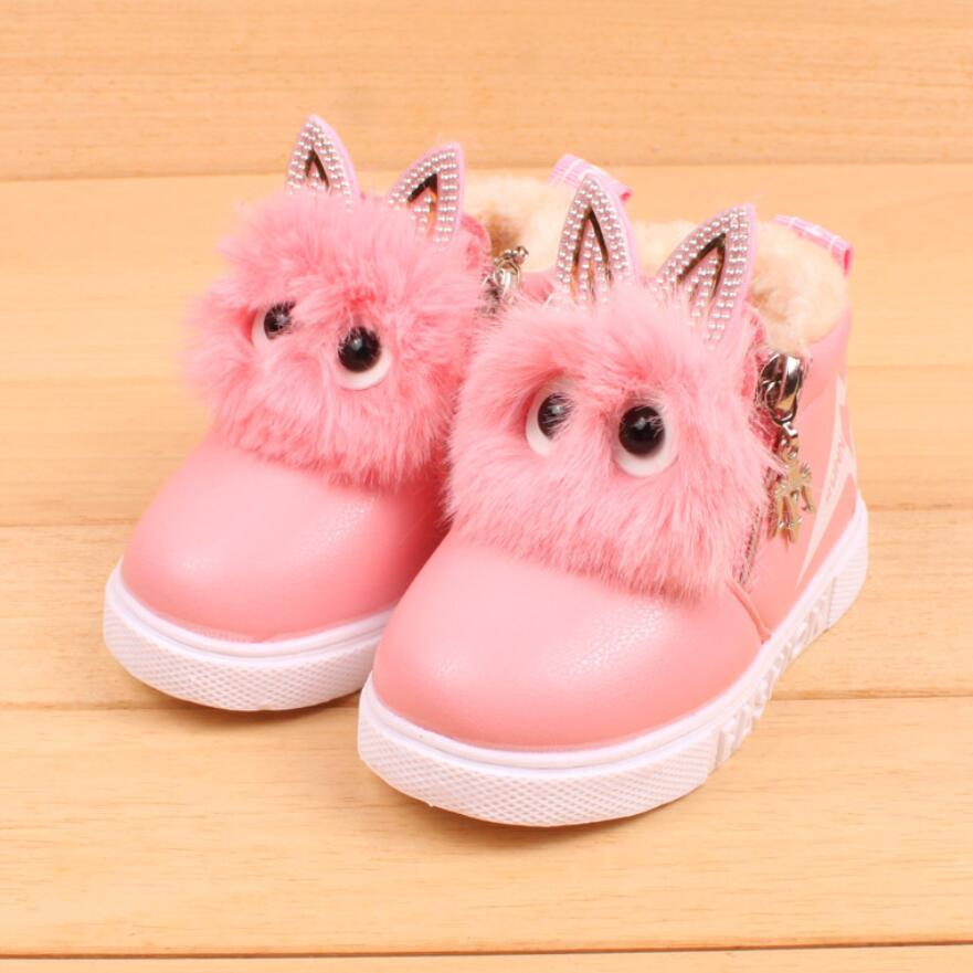Winter Warm Baby Pu Leather Boots Children Fashion Boys Girls Sneaker Boots Kid Warm Baby Casual Shoes Lovely Soft