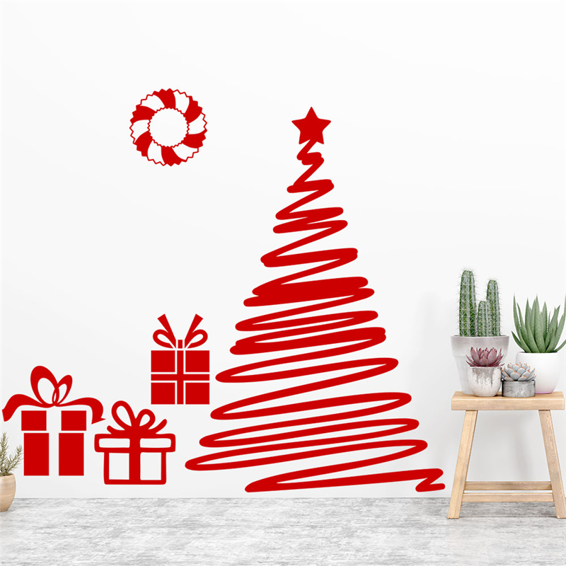 Happy New Year Tree Gifts Red Wall Decals Kids Rooms Glass Window Home Decorations Merry Christmas Wall Stickers Vinyl Wallpaper