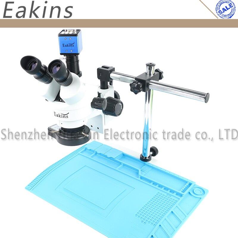 3.5X 7X 45X 90X simul-focal Microscope stéréo trinoculaire VGA microscope numérique caméra sac à souder tapis de protection thermique