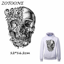 ZOTOONE Heat Transfer Clothes Stickers Bike Skull Patches for T Shirt Jeans Iron-on Transfers DIY Decoration Applique Clothes C