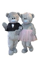 Wedding Teddy bear mascot costumes Teddies babydolls cosplay for Halloween Carival party event