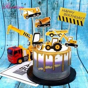 Image 5 - Ciągnik budowlany temat koparka nadmuchiwane balony ciężarówka pojazd banery Baby Shower dzieci chłopcy materiały urodzinowe