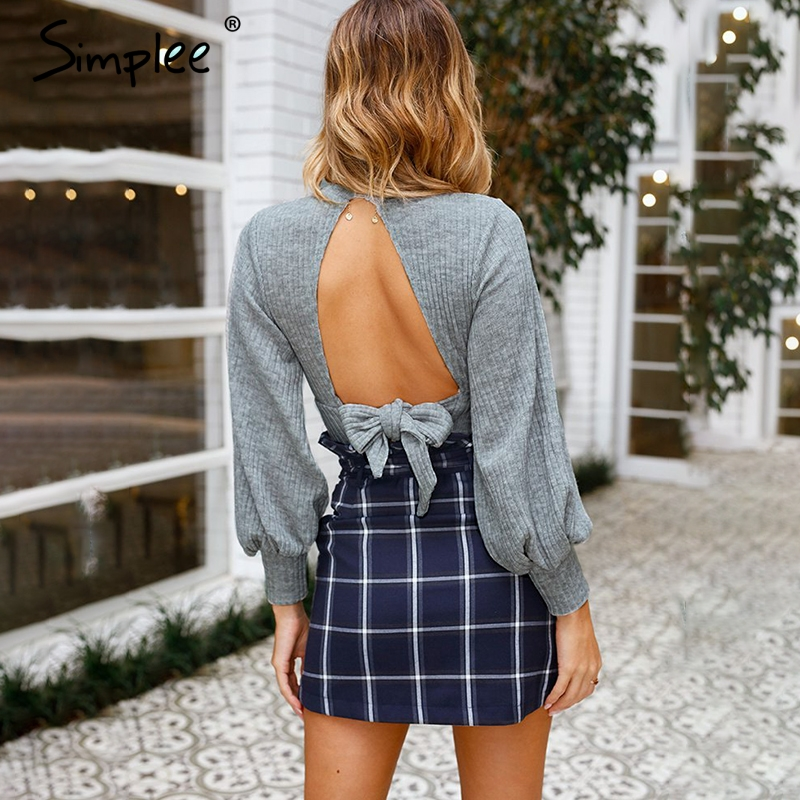 Simplee Sexy Lantern Sleeve Ladies Crop Tops Women Elegant Backless Bow Tie Top Shirt Autumn Fashion Casual Bandage Blouse 2018
