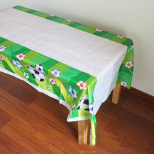 1pc/lot Boys Favors Baby Shower Party Football Theme Birthday Tablecloth Plastic Soccer Tablecover Kids Decorate Events Supplies(China)