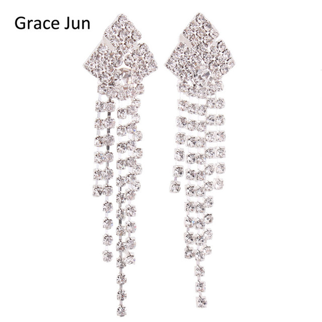 Grace juntm bridal crystal rhinestone long tassel clip on earrings grace juntm bridal crystal rhinestone long tassel clip on earrings non piercing silver aloadofball