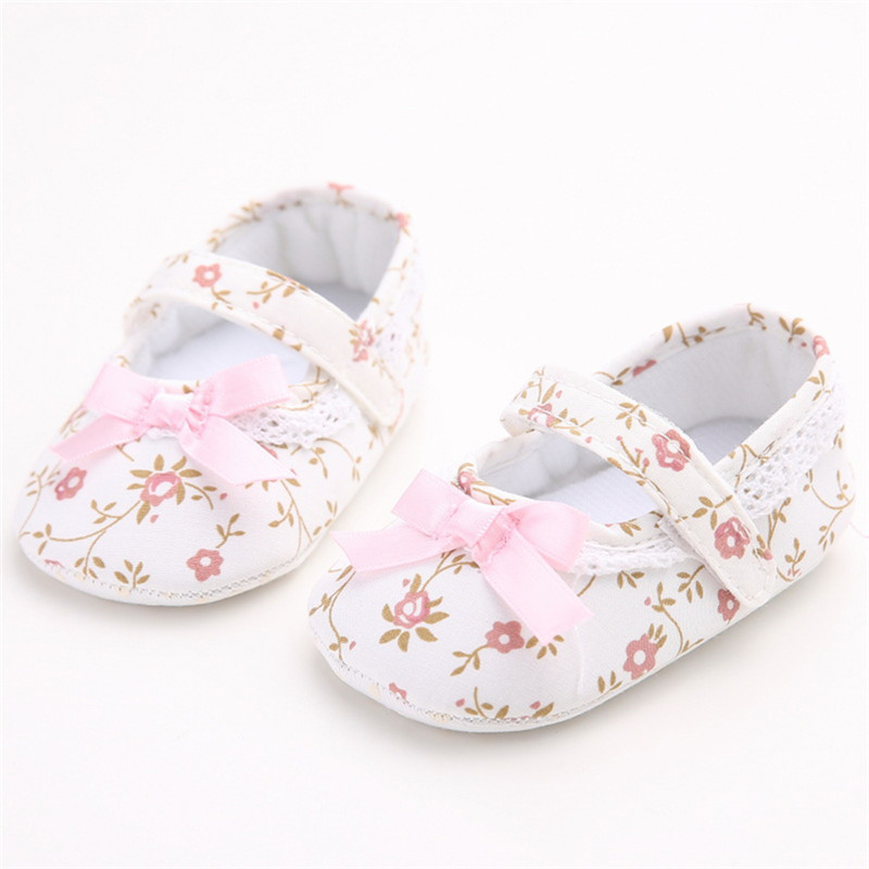 Sweet Newborn Baby Infant Toddler First Walkers Girl Soft Sole Anti-slip Floral Princess Crib Shoes Casual Footwear Shoes