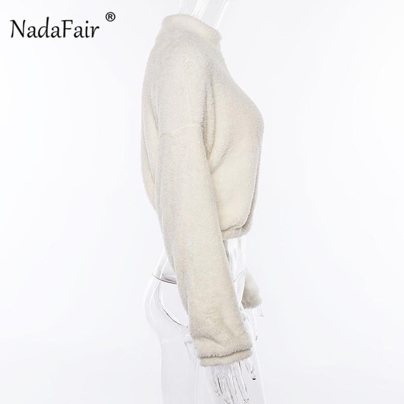 Nadafair Long Sleeve White Cropped Hoodie Women Autumn Winter Pullover Short Sweatshirt Plush Zipper Faux Fur Fluffly Sweatshirt 12