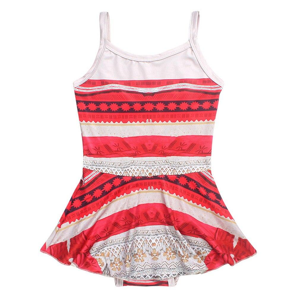 2018 New Moana Cartoon dress Kids girl Bikini Swimsuit  shirt dress Moana cosplay costume 3-10 YearSwimwear Summer Beach