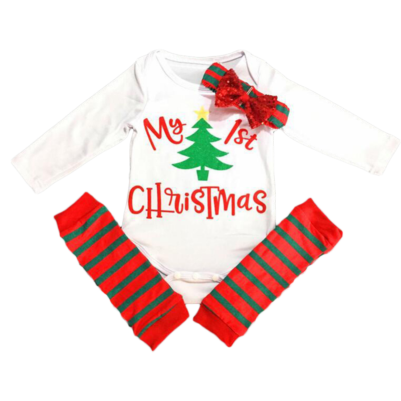 3Pcs Set Christmas Cute Newborn Baby Girls Clothes Cotton Top Long Sleeve Romper Printed Striped Leggings Socks Headwear Outfits