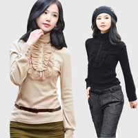 2017 High collar women autumn and winter Korean version of large size compassionate lace long sleeve t shirt