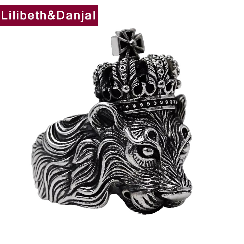 100% Real 925 sterling silver Men Ring Vintage Animal Lion Crown Cross Rock Hiphop Jewelry Christmas Gift MR11-in Rings from Jewelry & Accessories    1