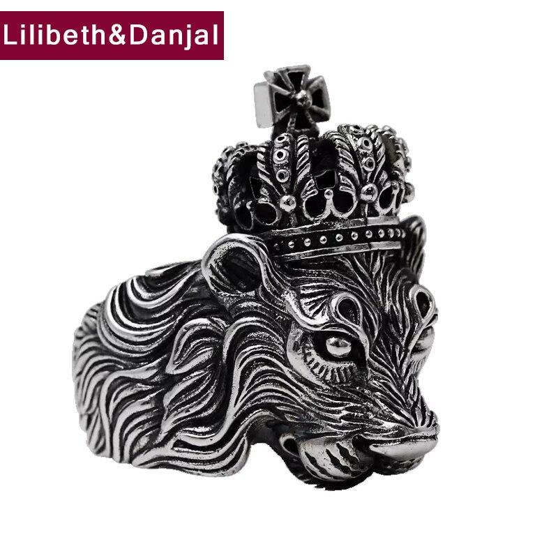 100% réel 925 sterling argent hommes bague Vintage Animal Lion couronne croix Rock Hiphop bijoux cadeau de noël MR11