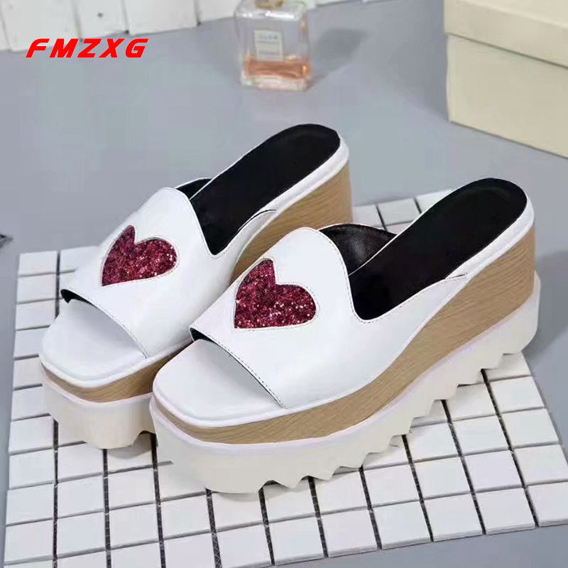 FMZXG Womens Wedges Slippers Platform Shoes Casual Sandles Fashion Flats Heart Shaped Spring/Autumn Genuine Leather Shoes Woman
