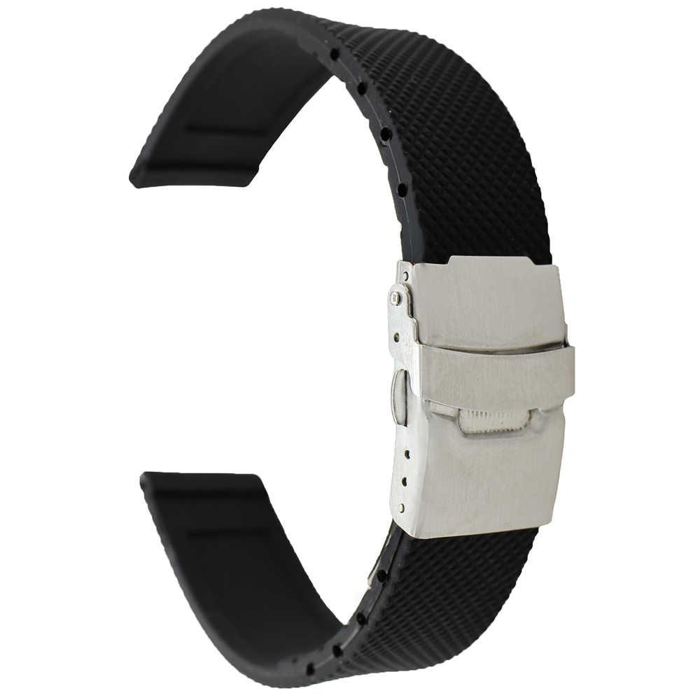 18mm 20mm 22mm 24mm Faixa De Relógio de Borracha de Silicone para o Zênite Paul Picot Mose Das Mulheres Dos Homens da Correia de Pulso Pulseira Cinto de Laço Preto + ferramenta