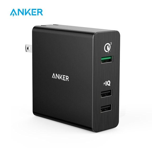 Cargador de pared de 3 puertos USB Anker de carga rápida 3,0 42 W PowerPort3 para Galaxy S7/S6/Edge /nota 5/4 PowerIQ para iPhone iPad más