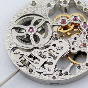 Image 3 - 17 Jewels Silvery Full Skeleton Hand Winding 6497 movement fit Parnis mens watch