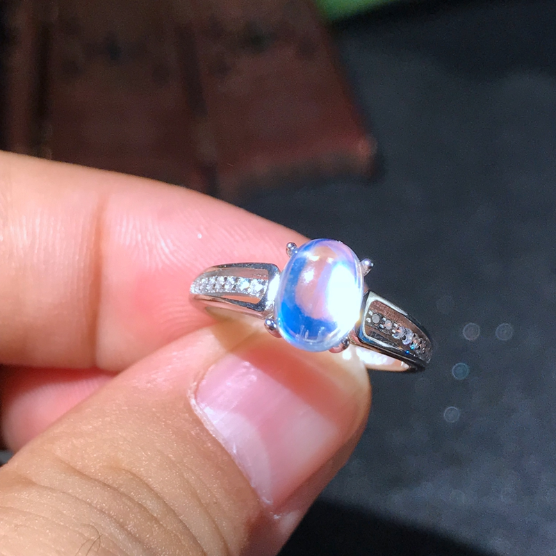 Moonstone Ring 925 silver crystal clean blue light intense simple lady ring 2